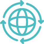 Icons Globus mit Pfeilen